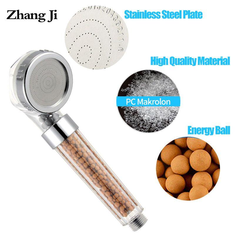 Zhang Ji 210x63mm Anion filtre SPA pomme de douche économie d'eau qualité haute pression pulvérisateur d'eau pomme de douche pluie 2 couleurs