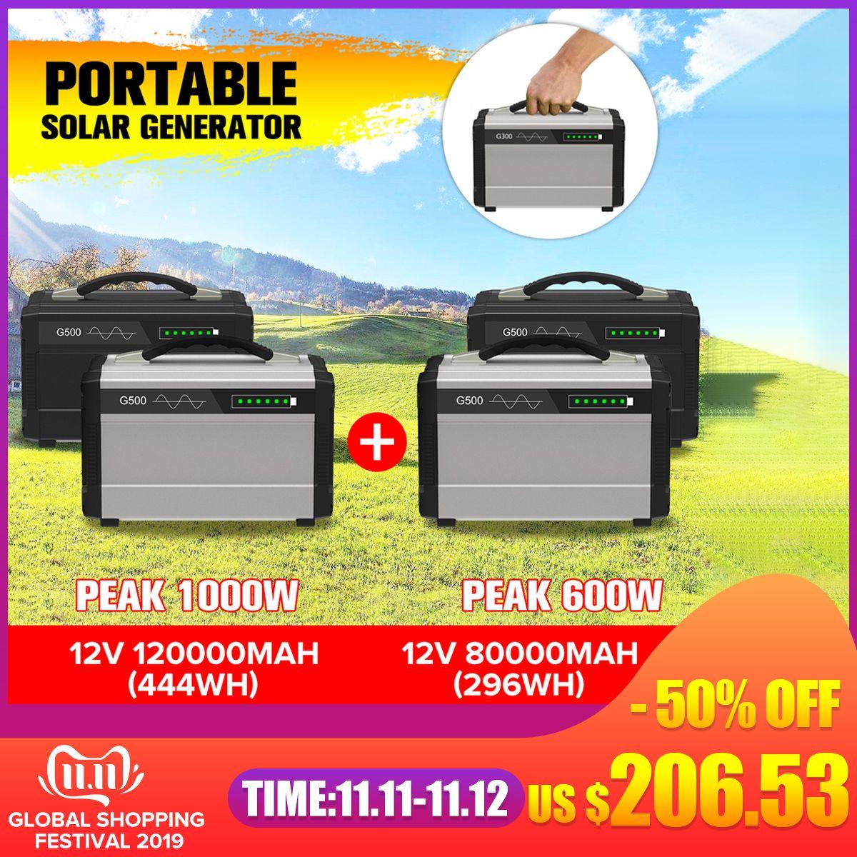 600 W/1000 W LCD Solar Power Lagerung Generator Inverter Outdoor UPS Reine Sinus Welle Power Versorgung USB Energie lagerung 80000/120000mAh