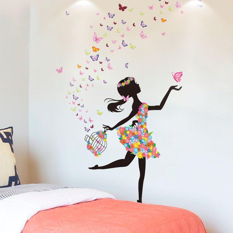 [SHIJUEHEZI] dessin animé fée fille Stickers muraux bricolage papillons cage à oiseaux décoration murale pour enfants chambres bébé chambre décoration