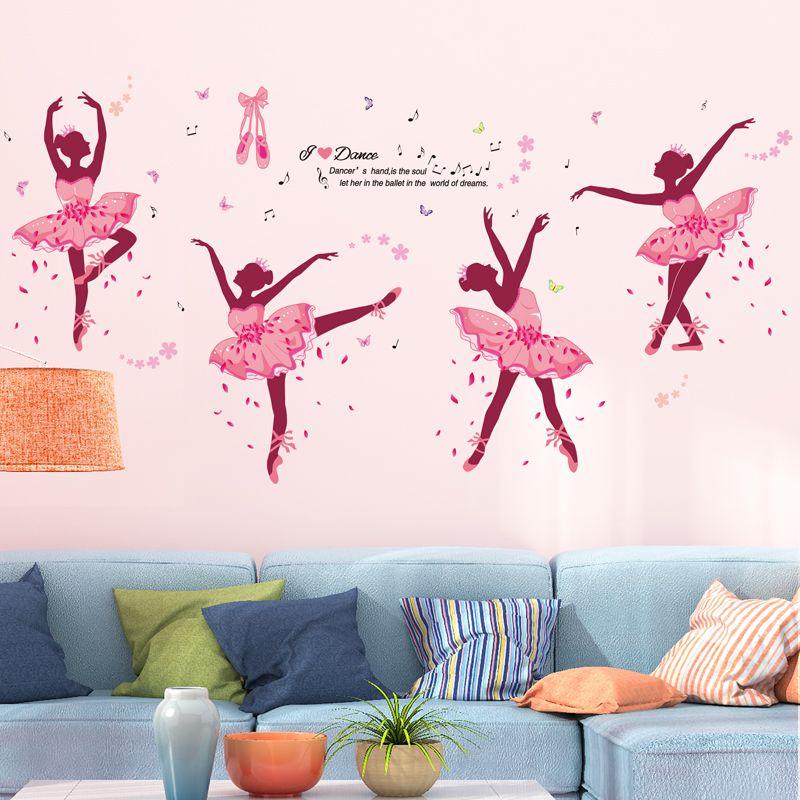 [SHIJUEHEZI] Ballet danseurs fille Stickers muraux PVC matériel bricolage papillons Stickers muraux pour enfants chambre bébé chambre décoration
