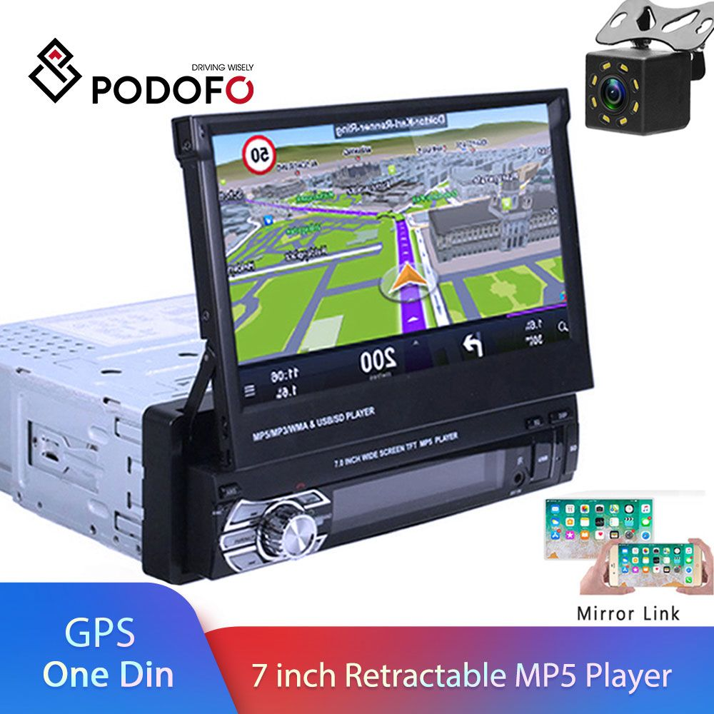 Autoradio Podofo One din lecteur MP5 Navigation GPS multimédia voiture audio stéréo Bluetooth 7 HD Autoradio rétractable AUX-IN/FM
