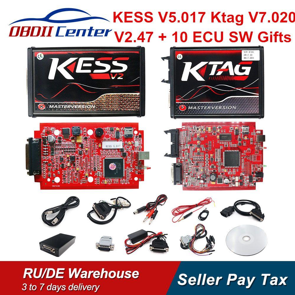 2019 KTAG V7.020 maître K-TAG 7.020 KESS V2 5.017 rouge carte PCB Euro ECU puce réglage outil K TAG adaptateurs complets OBD2 ECU programmeur GPT