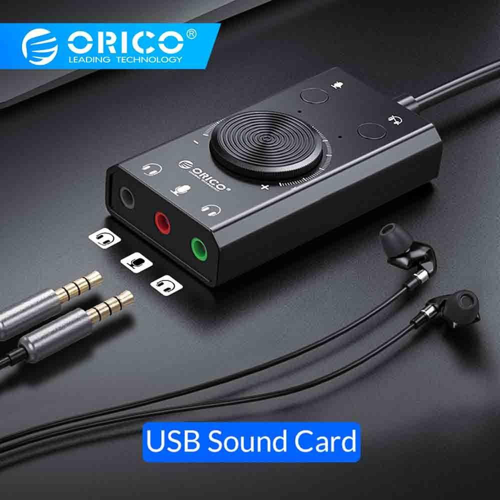 ORICO Portable USB carte son externe micro écouteur deux-en-un avec 3 ports Volume de sortie réglable pour Windows/Mac/Linux