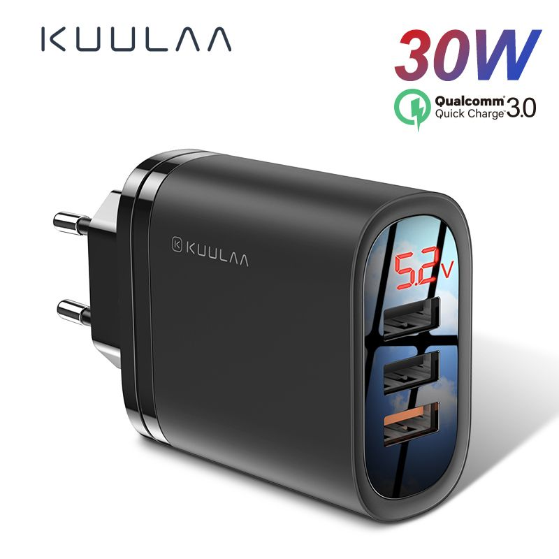 KUULAA chargeur rapide 3.0 USB chargeur 30W QC3.0 QC chargeur rapide multi-prise chargeur de téléphone portable pour iPhone Samsung Xiaomi Huawei