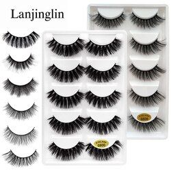 LANJINGLIN 5 pairs false eyelashes natural 3D mink lashes makeup beauty eyelash long mink eyelashes volume fake eye lashes cilio