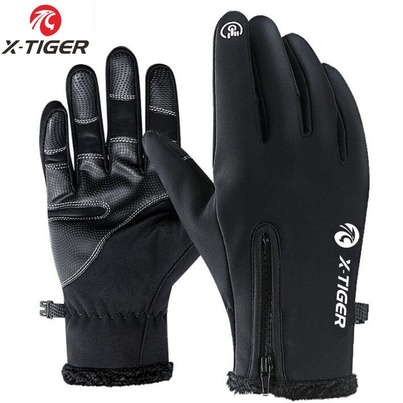 X-TIGER Touch Screen Bike Gloves Winter Thermal Windproof Warm Full Finger Cycling Gloves Waterproof Bicycle Glove For Men Women