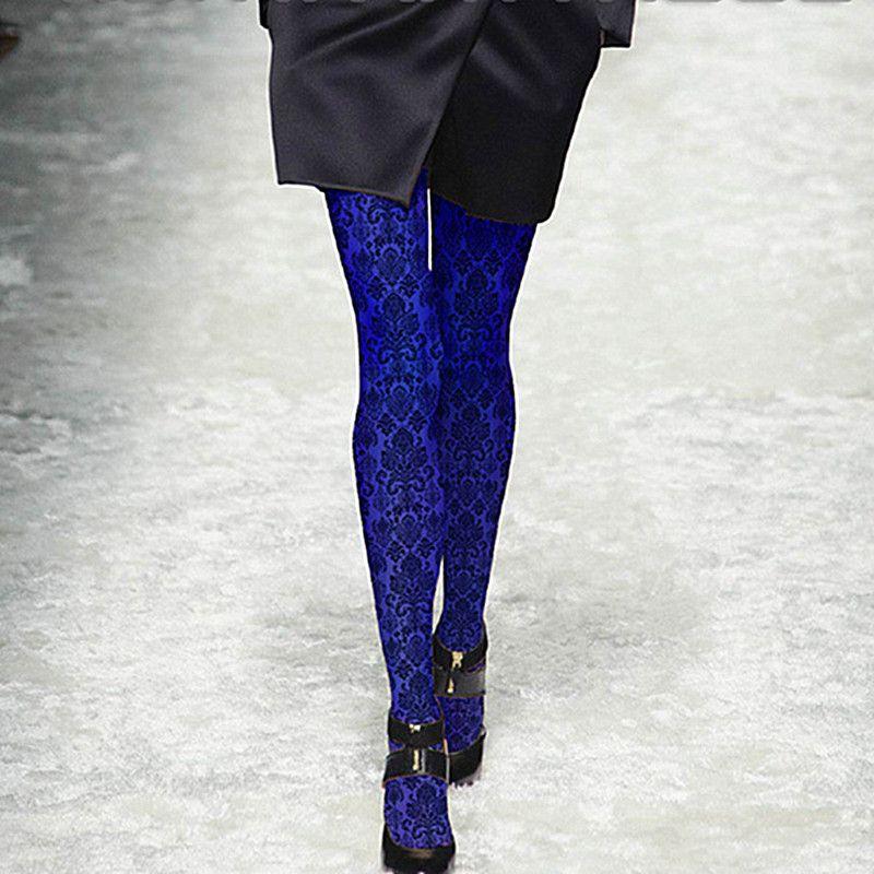 Ruine collant femme motif bleu collant imprimé collant femme fille