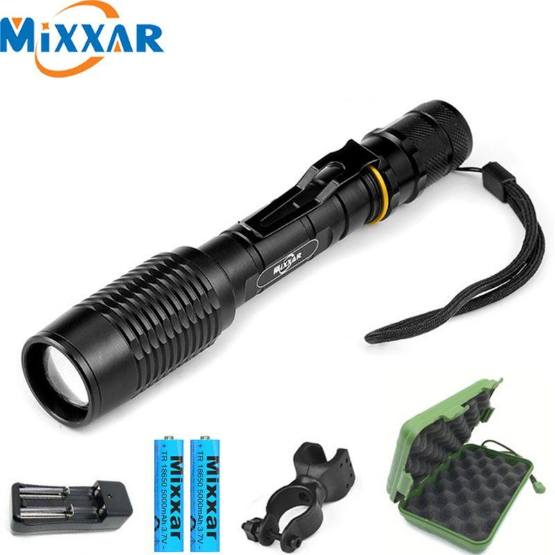 ZK20 lampe de poche LED V5 T6 8000LM 5 Modes Zoom livraison directe torche lampe de poche tactique peut être utilisé avec deux batteries 18650
