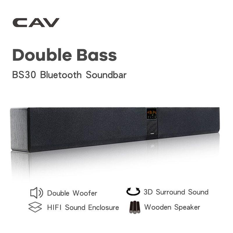 CAV BS30 Bluetooth Soundbar Spalte Dual Subwoofer Lautsprecher Heimkino DTS Surround Sound System Hängen Wand Eingebaute 3D Stereo