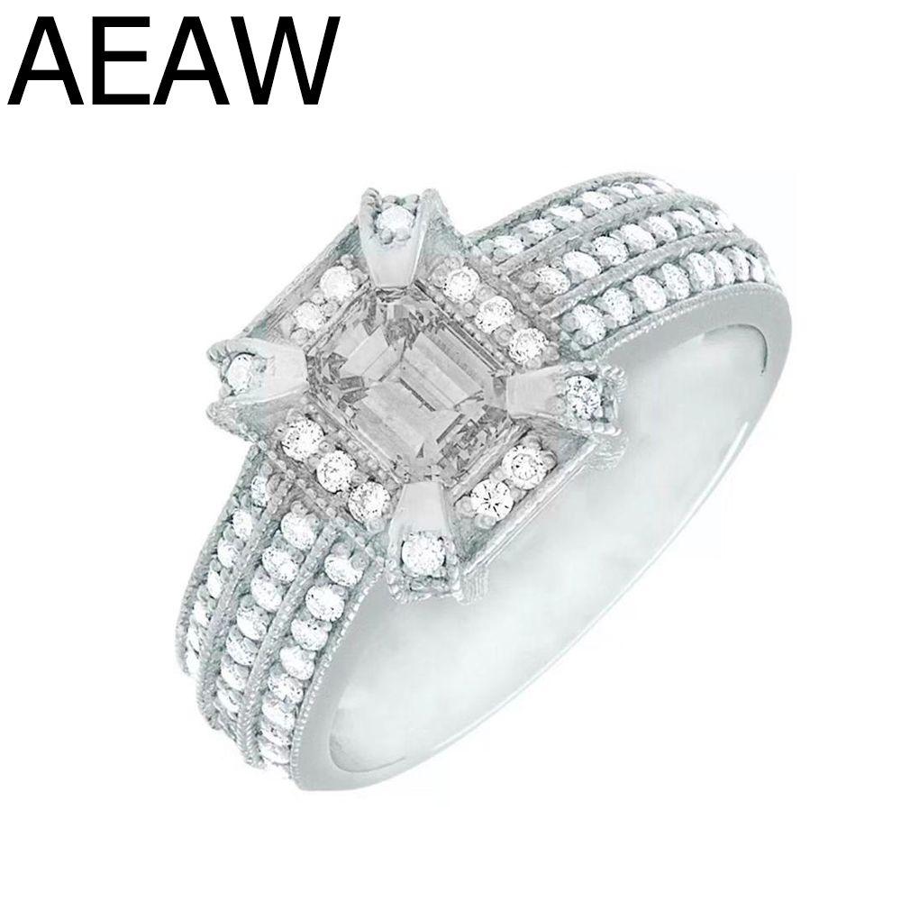 Luxus 2carat Moissanite Ring Fester 14K White Gold Engagement Ring Smaragd Cut Lab Grown Diamant Hochzeit Ring Für frauen