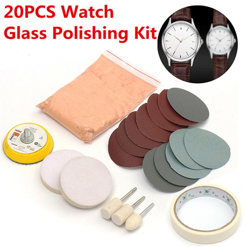 20 pièces/ensemble Kit de polissage de verre de montre nettoyage de verre tampon de polissage et roue 50mm tampon de support de qualité Durable