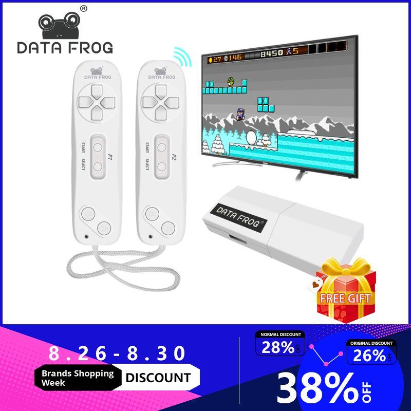 Données grenouille USB sans fil portable TV Console de jeu vidéo construire en 620 classique 8 bits jeu mini Console double manette AV sortie