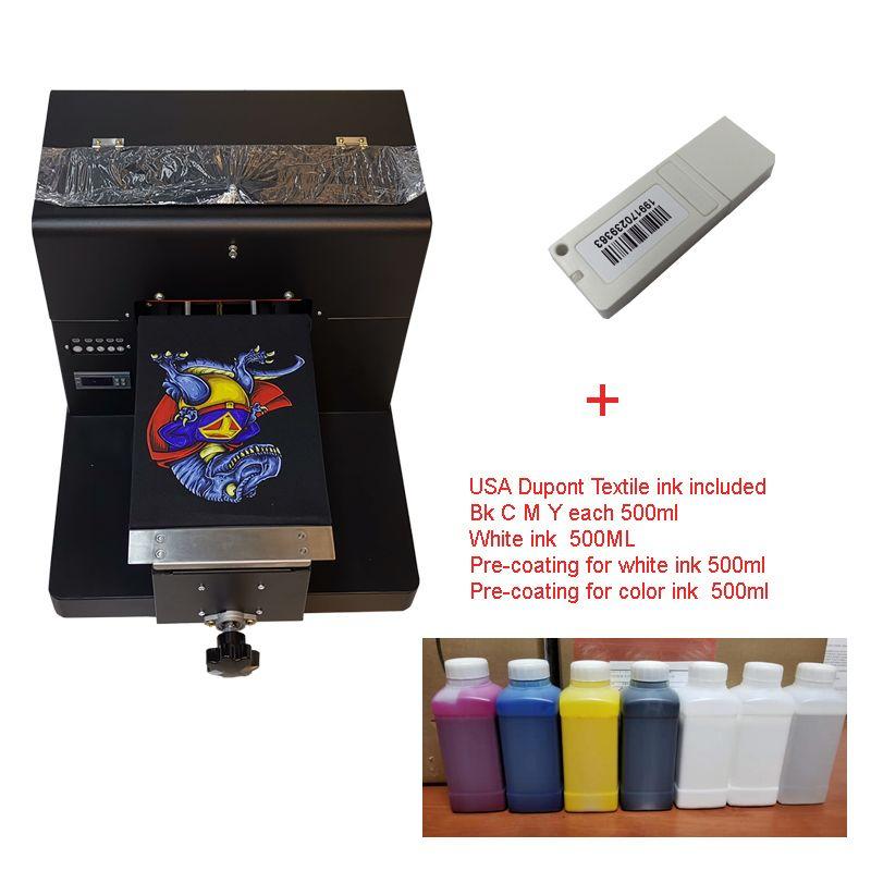 A4 Größe DTG T-Shirt Drucker zu Drucken Dark Licht Farbe Garment Pritsche Drucker maschine