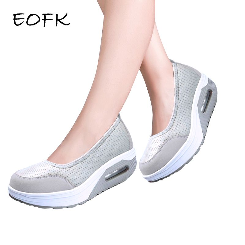EOFK Summer Women Platform Shoes Woman Flat Swing Shoes Lady Slip On Comfort Black Mesh Fabric Shoes