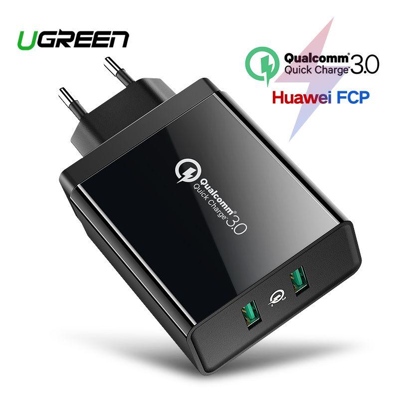 Chargeur rapide Ugreen charge rapide 3.0 QC 36W chargeur USB pour iPhone QC3.0 chargeur mural pour Samsung s10 Xiao mi mi 9 chargeur de téléphone