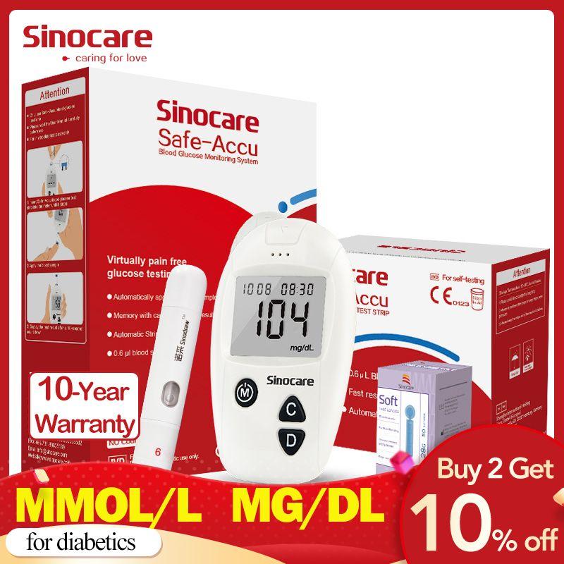 Sinocare Safe-Accu CE lecteur de glycémie glucomètre Kit testeur de diabète 50/100 bandelettes de Test lancettes compteur de sucre dans le sang médical