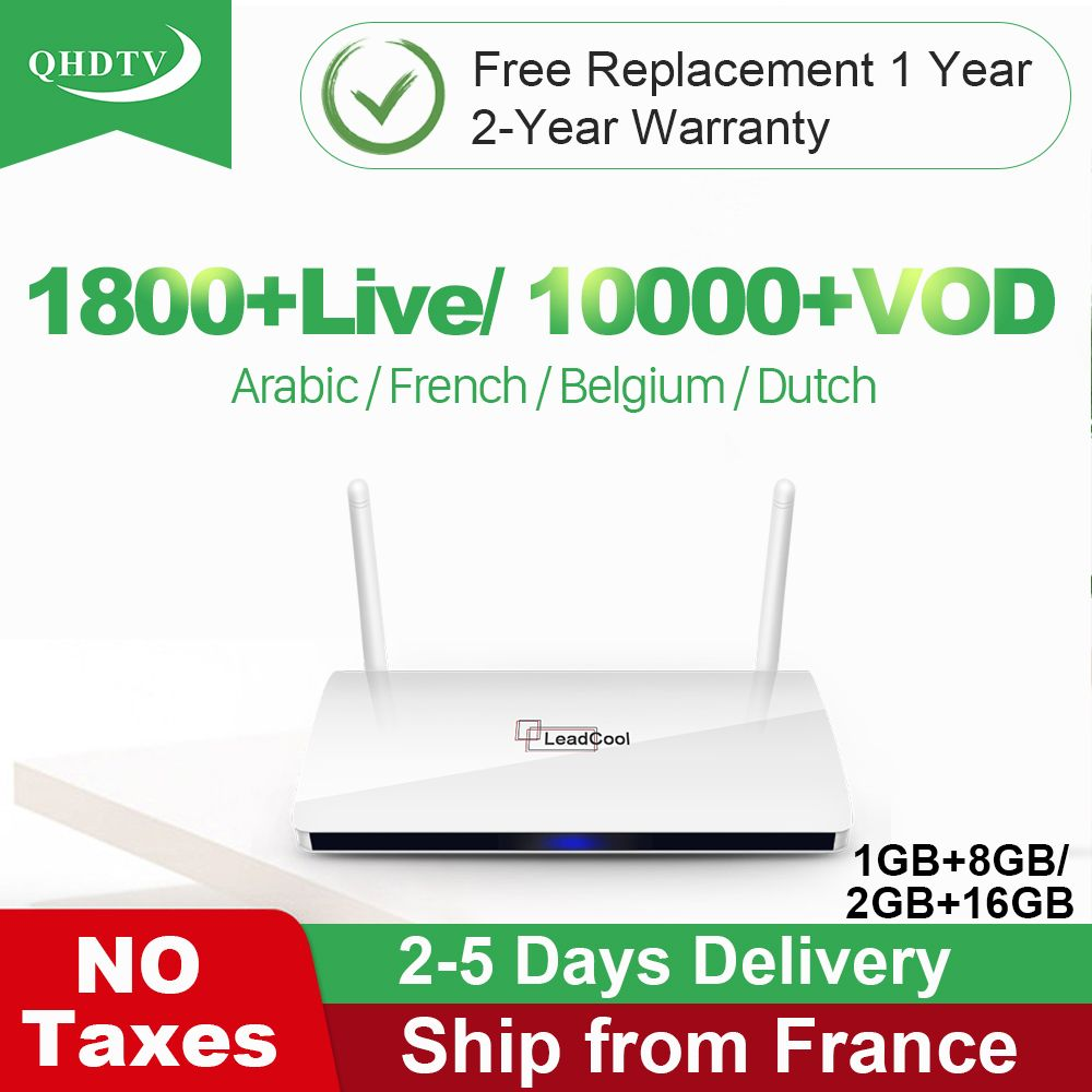 Leadcool IPTV France arabe QHDTV Box Leadcool Android TV récepteur RK3229 Quad-Core avec 1 an IPTV abonnement IPTV France