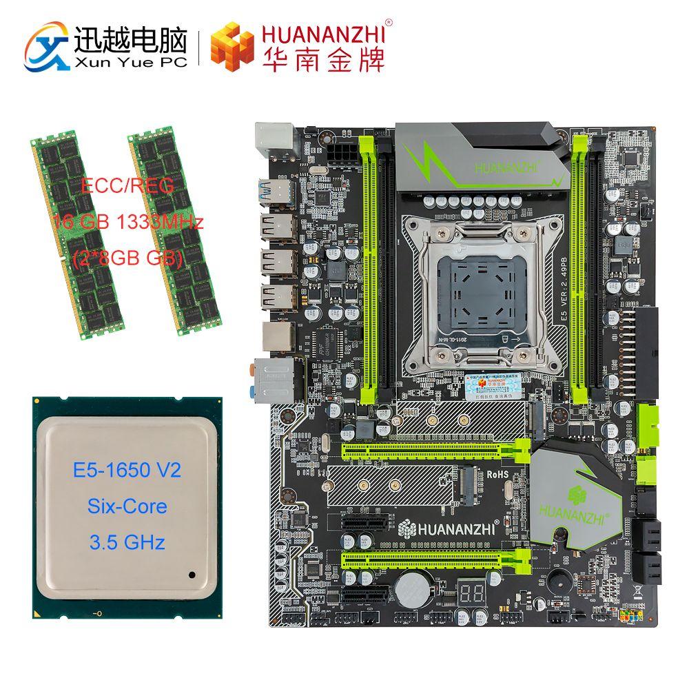 HUANAN ZHI X79 V 2,49 PB Motherboard M.2 NVME ATX Set Mit Intel Xeon E5 1650 V2 3,5 GHz CPU 2*8GB (16 GB) DDR3 1333MHZ RECC RAM
