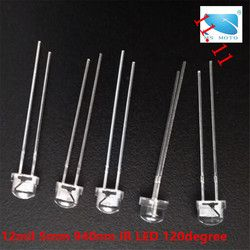 20 Pcs/lot 5mm 12mil Infrared IR LED 940nm invisible Diode 120 degree 5*5*5.5mm Through Hole Led Light Diodes For Security