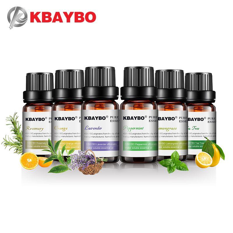 KBAYBO 10ml * 6 bouteilles huiles essentielles pures pour aromathérapie diffuseurs lavande arbre à thé citronnelle arbre à thé romarin huile d'orange