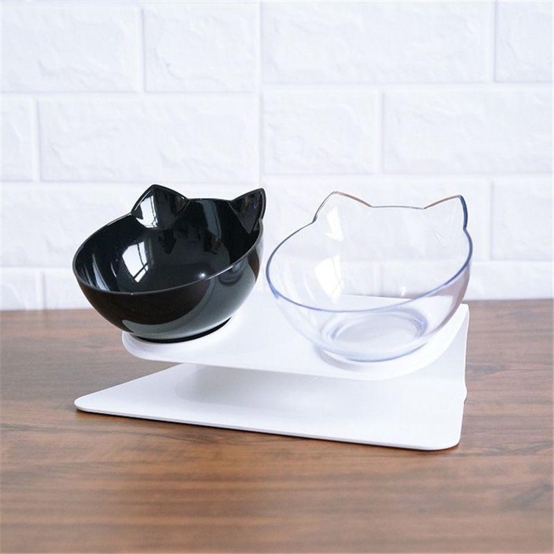 Chat explosif Double bol bol pour chat bol pour chien Transparent comme matériau bol alimentaire antidérapant avec Protection cervicale chat Transparent