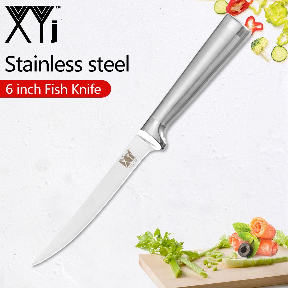Couteau à filet professionnel XYj 6 pouces lame en acier inoxydable et poignée couteau à filet de pêche outils de couteau à désosser les poissons Ultra tranchants