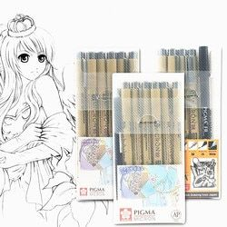 Markers Set Pigma Micron Pen Soft Brush Drawing Painting Waterproof Pen 005 01 02 03 04 05 08 1.0 2.0 3.0 Brush Art Markers