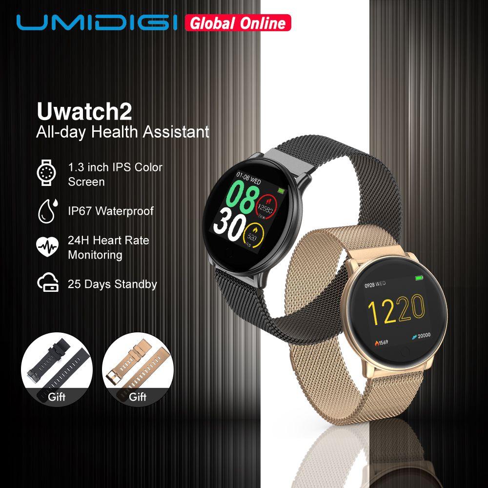 UMIDIGI Uwatch2 montre intelligente pour android, IOS 1.33 'plein écran tactile IP67 25 jours en veille 7 Modes Sport entièrement métal Unibody reloj