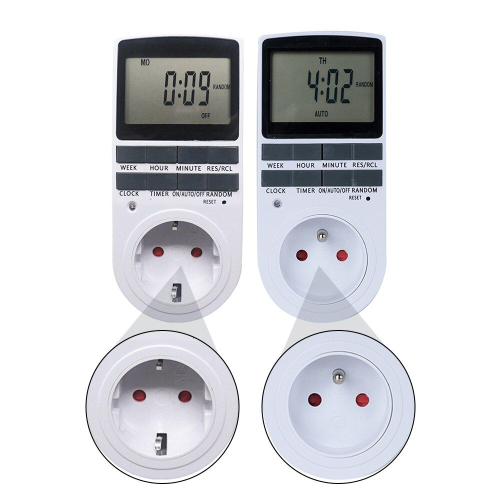 Digital Timer Switch 230V LCD Power Weekly Programmable Time Meter Relay Timer 12/24 Hours EU FR BR Plug Socket for Kitchen