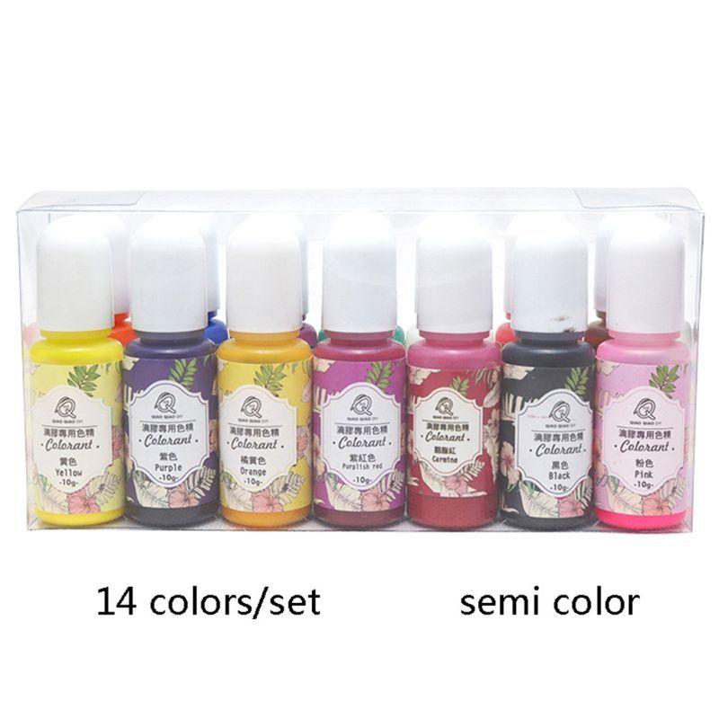 14 pièces/ensemble UV résine colorant Pigment bricolage cristal époxy haute transparence colorant huileux pour l'artisanat faisant le remplissage