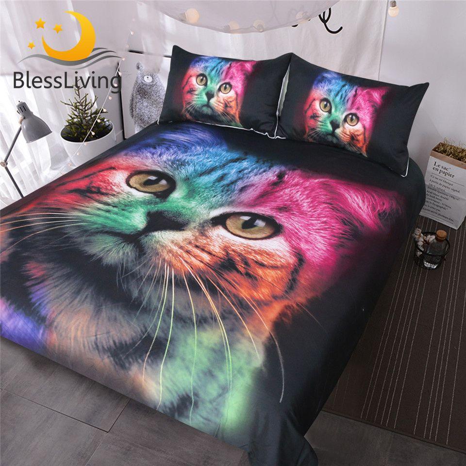BlessLiving chat ensemble de literie pour filles garçons mignon coloré chat motif couvre-lit 3 pièces audacieux couleur noir Animal housse de couette ensemble