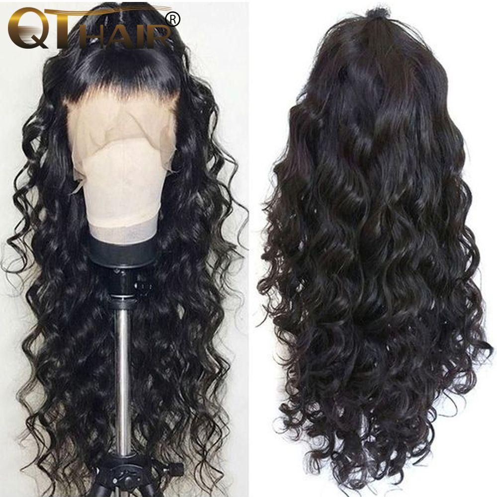 QT Body Wave 360 dentelle frontale perruque pré plumée avec bébé cheveux brésilien Remy 13x4 dentelle avant cheveux humains perruques partie profonde pour les femmes