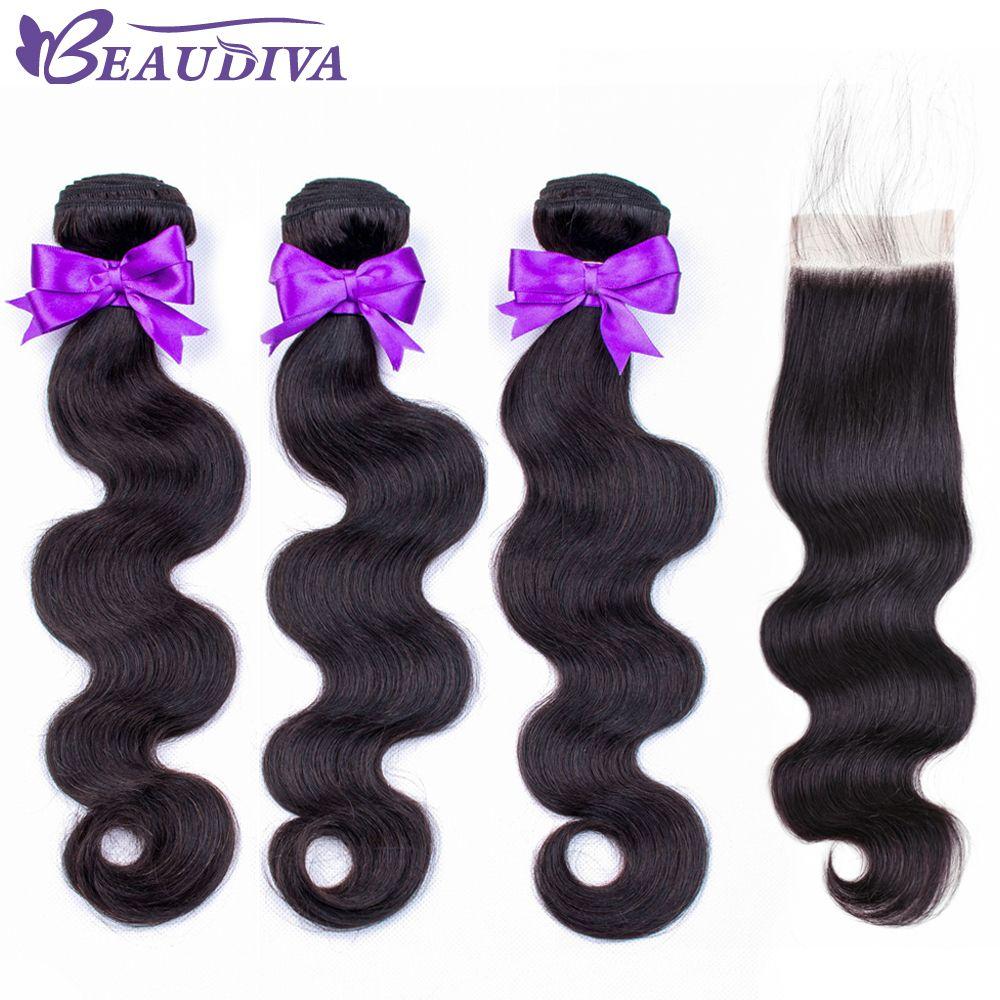 BEAUDIVA cheveux brésiliens vague de corps 3 paquets avec fermeture paquets de cheveux humains avec fermeture fermeture à lacet Remy Extension de cheveux humains