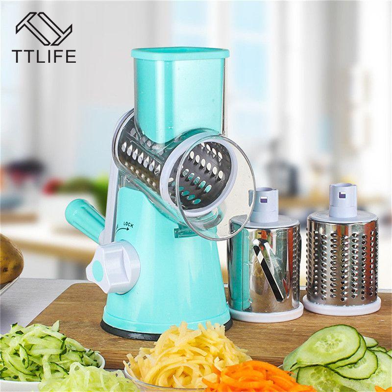 TTLIFE coupe-légumes rond Mandoline trancheuse pomme de terre carotte râpe trancheuse avec 3 lames de hachoir en acier inoxydable outil de cuisine