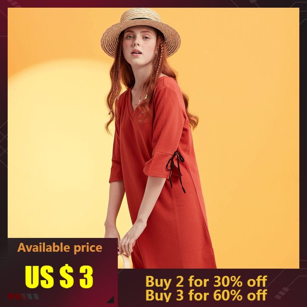 Metersbonwe femmes mode OL robe officielle pour femmes filles marque 2019 nouveauté sexy évider noir rouge col en V robe