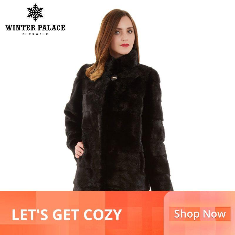 Winter Mode Schlank pelzmantel natürliche nerz stehen Kragen gute qualität nerz pelzmantel frauen natürliche schwarze frauen nerz mantel