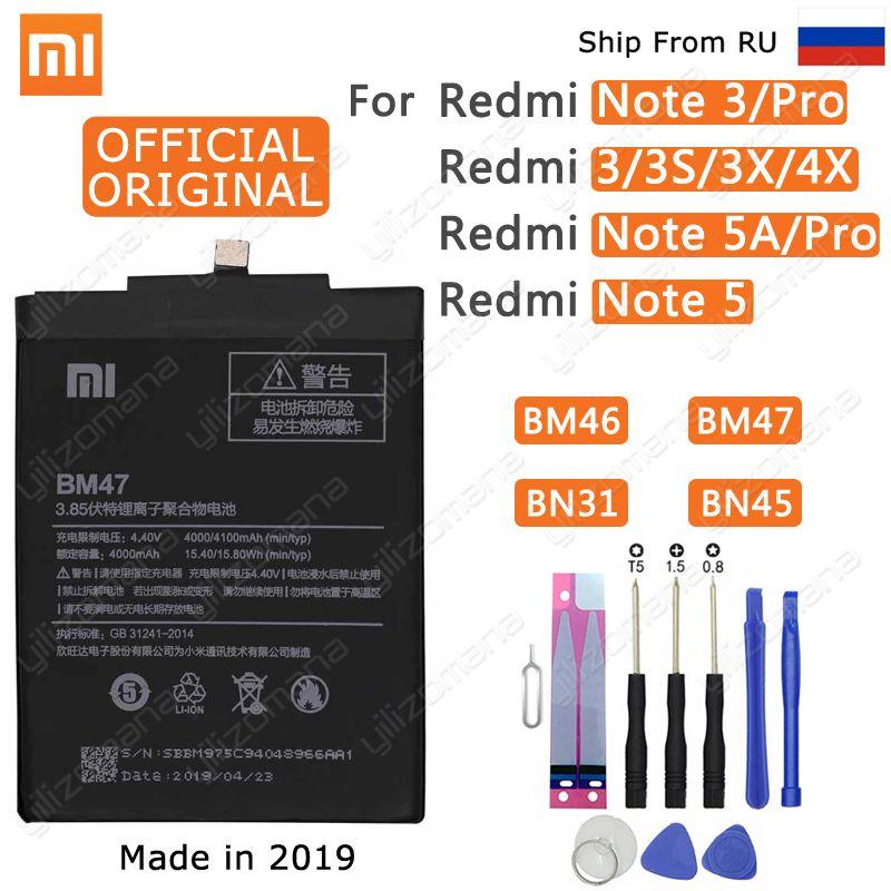 Xiao mi batterie de téléphone d'origine BM47 pour Xiao mi rouge mi 3 3S 3X4X3 pro Note 3 5 5A Pro mi 5X BM46 BN31 BN45 Batteries de remplacement