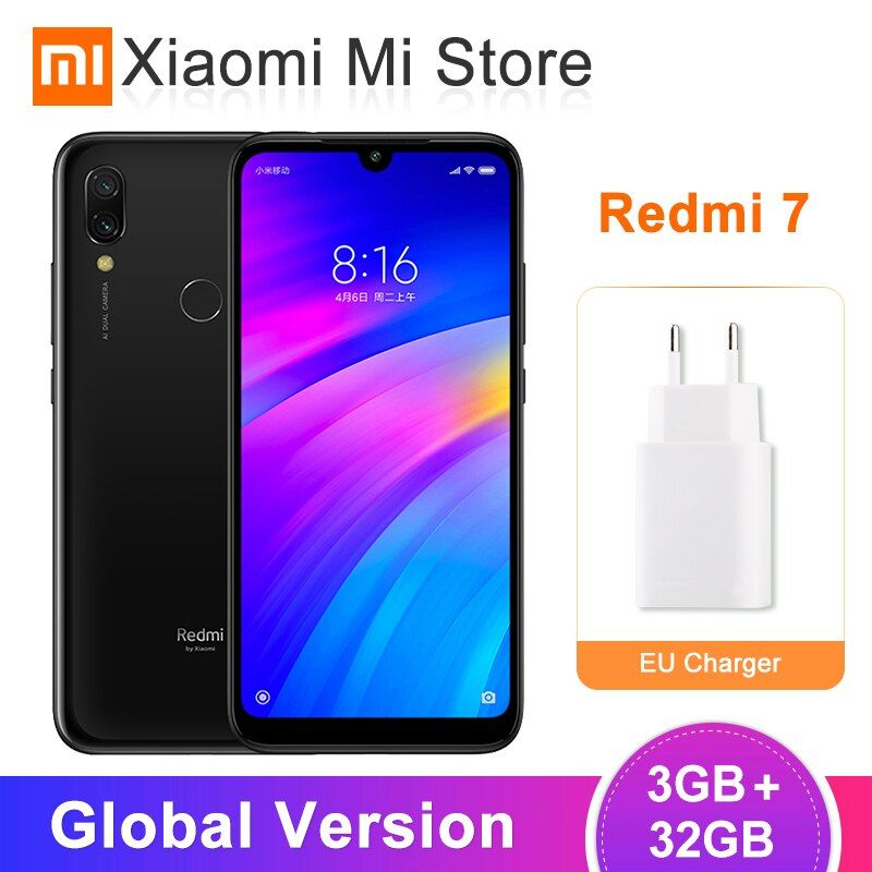 Version globale Xiaomi Redmi 7 3 GB 32 GB 4000 mAh téléphone portable Snapdragon 632 Octa Core 12MP AI double caméras 6.26