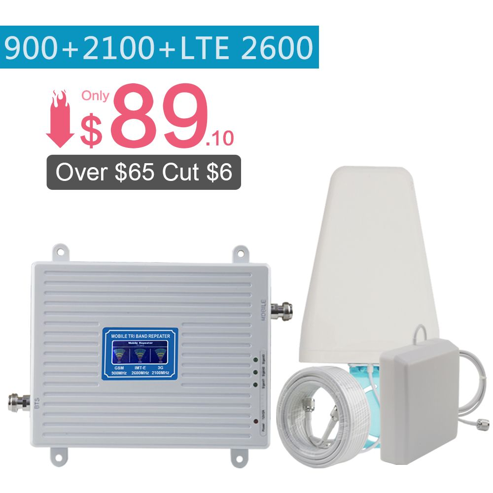 2G 3G 4G 2600 Tri Band Cellular Verstärker 2G GSM 900mhz signal Repeater 70dB 3G WCDMA 2100mhz 4G LTE 2600mhz Moblie Booster Set