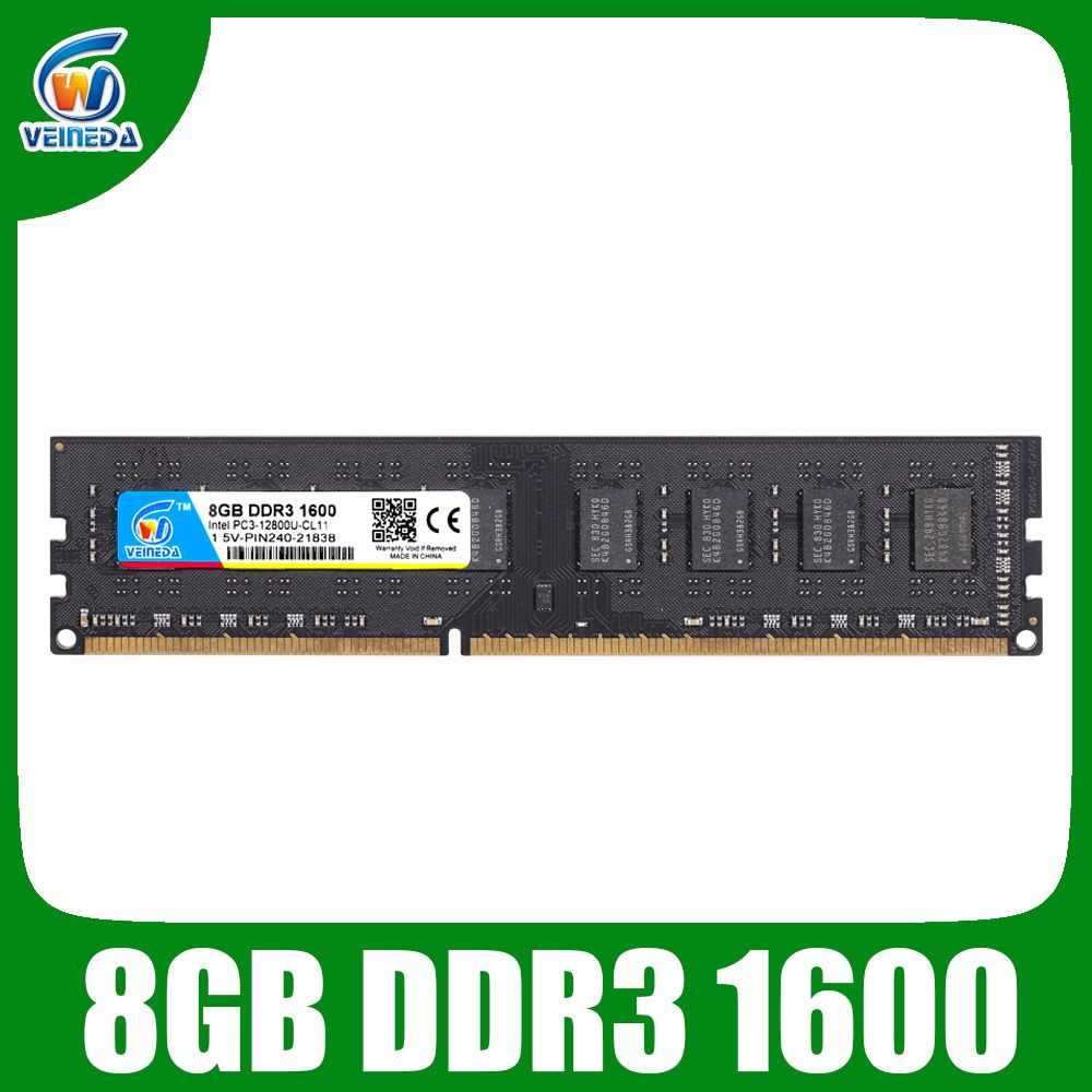 VEINEDA DDR3 4GB 8GB mémoire vive ddr 3 1333 1600 pour tous ou pour certains PC3-12800 de bureau AMD Compatible 2GB tout neuf