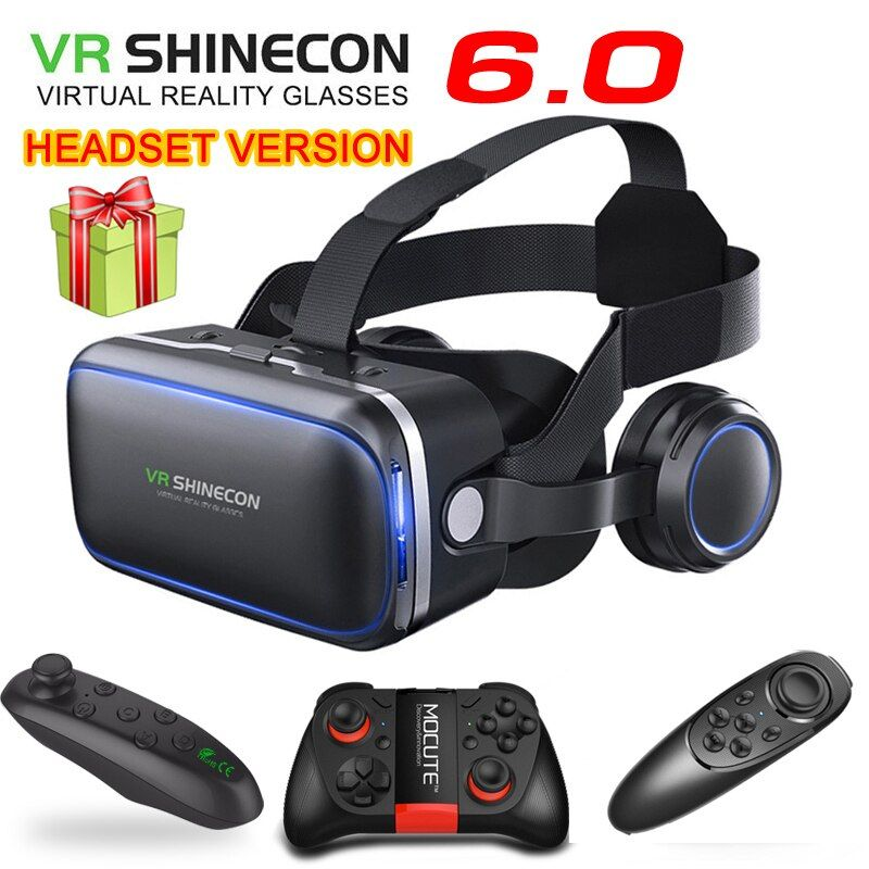 Original VR shinecon 6.0 casque version lunettes de réalité virtuelle 3D lunettes casque casques téléphones intelligents package Complet + GamePad