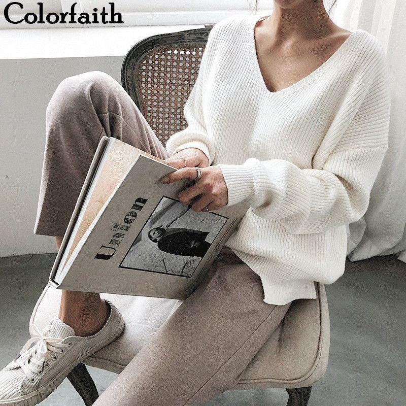 Couleur nouvelle 2019 automne hiver femmes chandails col en v minimaliste hauts à la mode Style coréen à tricoter décontracté solide SW8112
