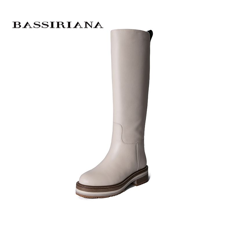 BASSIRIANA2019 herbst und winter neue frauen leder stiefel weiß leder nicht-slip sohlen weibliche stiefel flache stiefel.