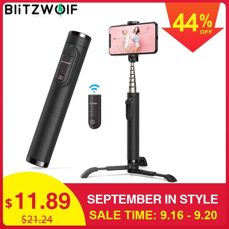 BlitzWolf BW-BS9 tout en un Mini bluetooth Selfie bâton monopode trépied intégré trépieds détachables Selfie bâtons pour Iphone
