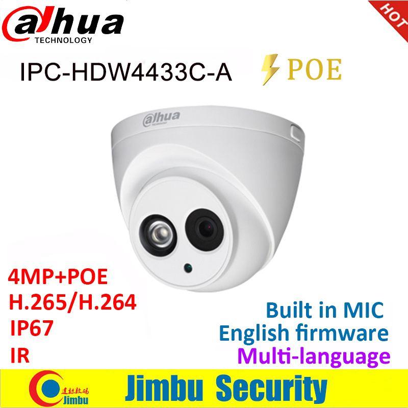 Dahua caméra IP 4MP IPC-HDW4433C-A IR30 Mini caméra POE starlight H265 H264 intégré micro réseau cctv dôme multilingue