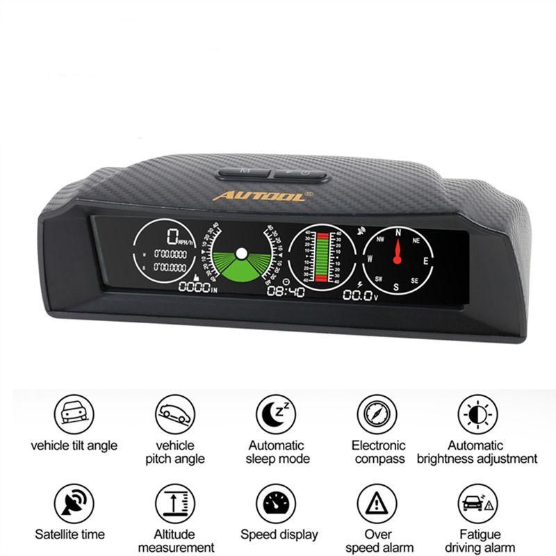 AUTOOL X90 Vitesse GPS Pente Compteur Inclinomètre Voiture HUD de Lancement De la D'inclinaison D'angle Latitude Longitude Boussole