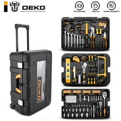 DEKO 258 Pcs Tool Set with Rolling Tool Box Metric Socket Wrench Hand Tool Kit Storage Case Socket Wrench Screwdriver Knife