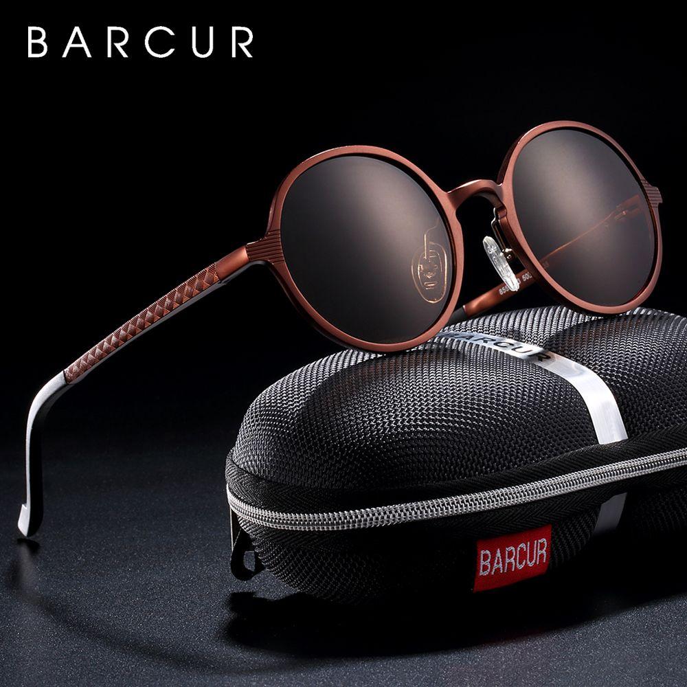 BARCUR Hot Black Goggle Male Round Sunglasses Luxury Brand Men Glasses Retro Vintage Women Sun glasses UV400 Retro Style