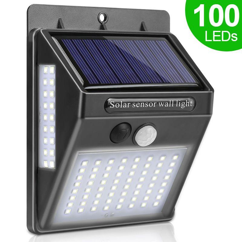 100 LED lumière solaire extérieure lampe solaire PIR capteur de mouvement lumière murale étanche solaire alimenté la lumière du soleil pour la décoration de jardin