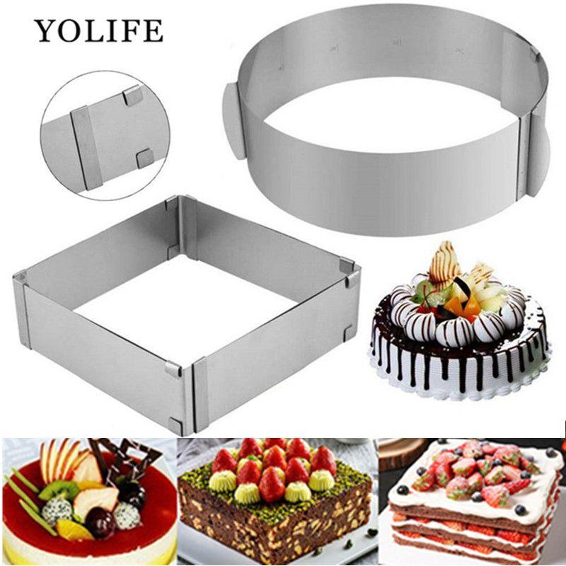 Anneau de Mousse réglable 3D rond et carré moule à gâteau en acier inoxydable moule de cuisson cuisine Dessert accessoires outil de décoration de gâteau